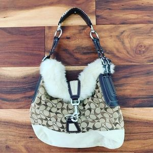 Coach Purse with Faux Fur and Suede Trim